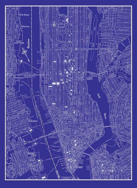 New York City Map 1944 New York City Manhattan by TheMapShop, $12.95