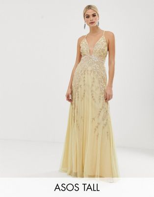 b21408257c ASOS DESIGN Tall feather embellished maxi dress