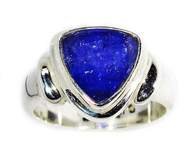 8 RING SIZE TANZANITE SILVER RING -FACETED [SJ2947]