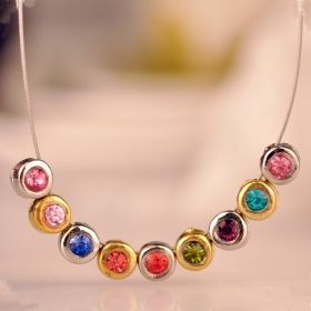 Multicolor Bling Pendant Chain Necklace