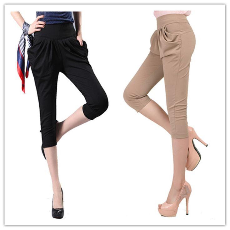 Дешевое 2014 летние плюс размер капри для женщин, случайных шаровары , эластичной талией , Размер S, M , L, XL , XXL, XXXL , XXXXL, Купить Качество Брюки и капри непосредственно из китайских фирмах-поставщиках:        Славное качество мода повседневная брюки брюки женщин новый стиль, хаки / черный / красный / зеленый цвета,