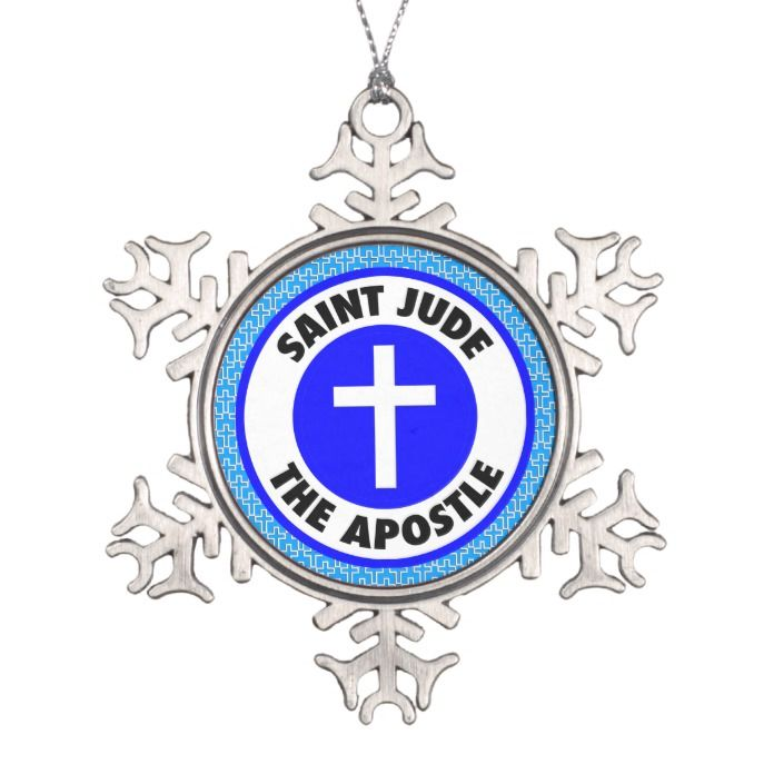 Saint Jude the Apostle Snowflake Pewter Christmas Ornament #Custom #Christmas #Holiday #Decor #Ornaments