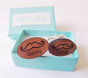 Engraved Moustache 'Usher' Cufflinks