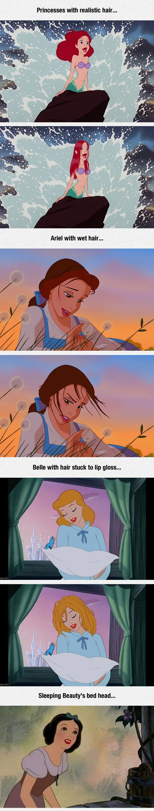 Disney Princesses With Realistic Hair~~ Other than the fact that it's Cinderella not Sleeping Beauty, too funny