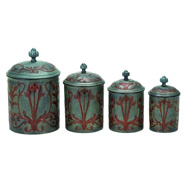 17 best images about cannister 39 s on pinterest jars copper and red kitchen canisters for Kitchen set elegant