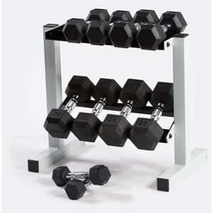 Cap Barbell 150 lb Rubber Hex Dumbbell Set, 5-25 lb with Rack