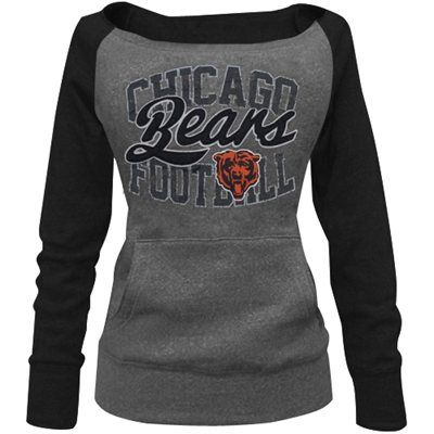 Chicago Bears Ladies Formation Boatneck Tri-Blend Sweatshirt - Charcoal/Navy Blue