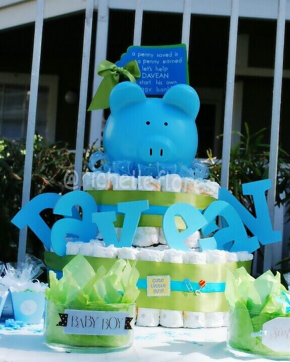My designed diaper cake for a friends babyshower for a baby boy