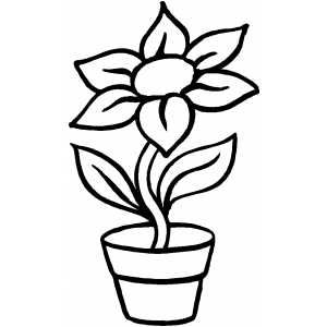 Flower In Pot Free printable coloring pages Coloring