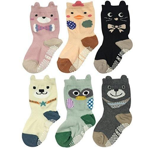 Wrapables Peek A Boo Animal Non-Skid Toddler Socks (Set of 6) Zoo Animals Large