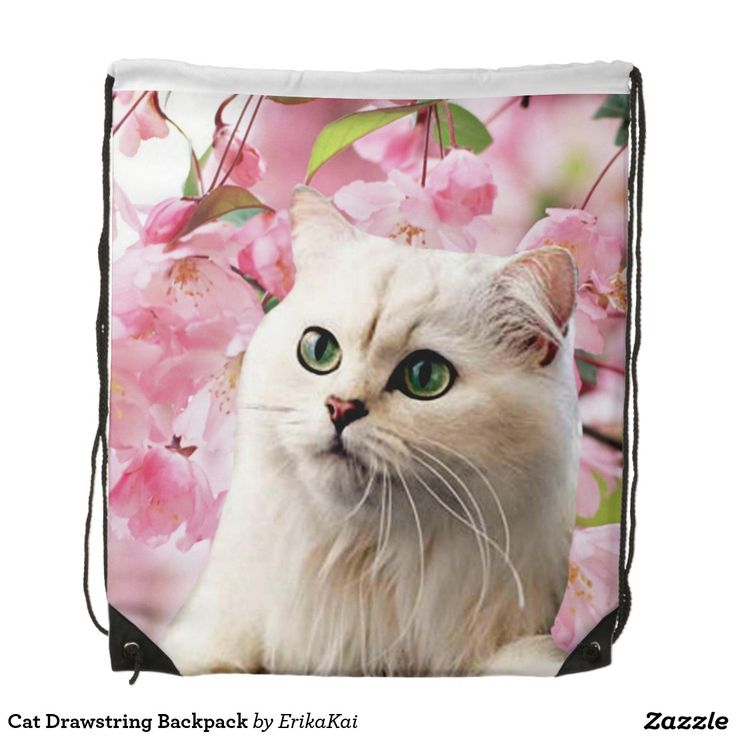 """White Cat and Pink Flowers Drawstring Backpack. 100% polyester. Dimensions: 14.75"""" x 17.3""""."""