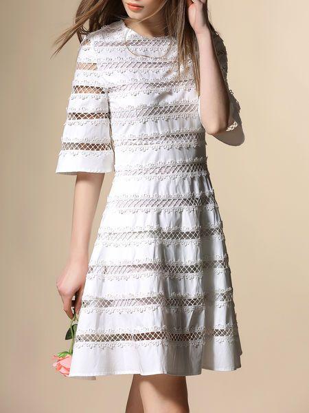 Pierced Cotton Mini Dress