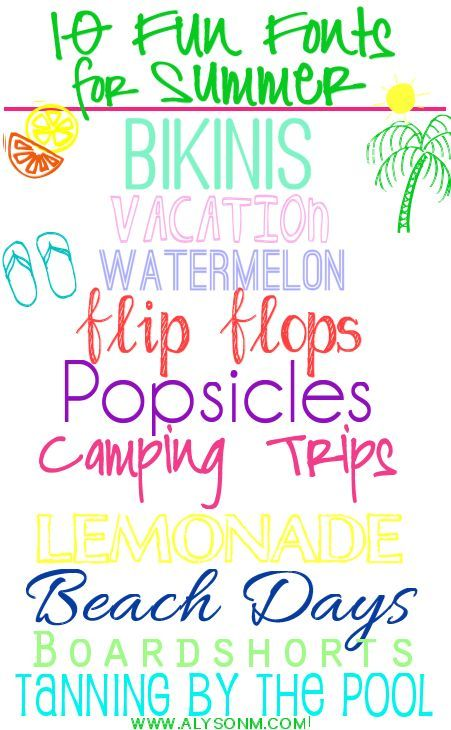 These fun summer fonts are great for using this summer. Click on the link & download for free. It's easy! Use the fonts for party invites, lists and more!!!