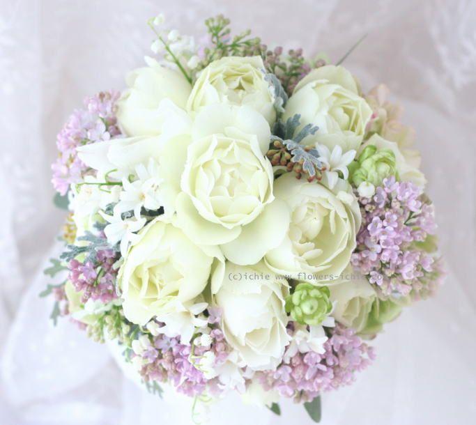 ブーケ ラウンド ブルゴーニュとライラック : 一会 ウエディングの花