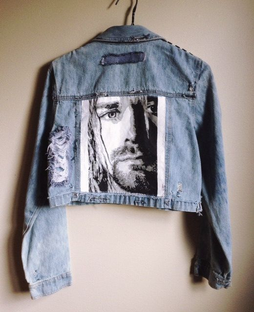 Hand Painted Metal Studded Distressed Kurt Cobain/ Nirvana Women's Denim Jacket. The Gas Station Etsy