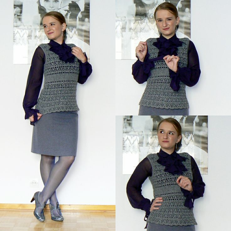 The gray crocheted vest.