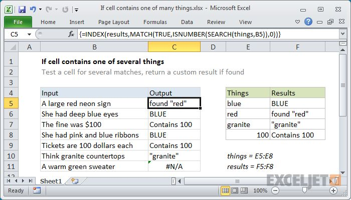Excel Formula If Cell Contains One Of Many Things Cell Excel Formula Excel