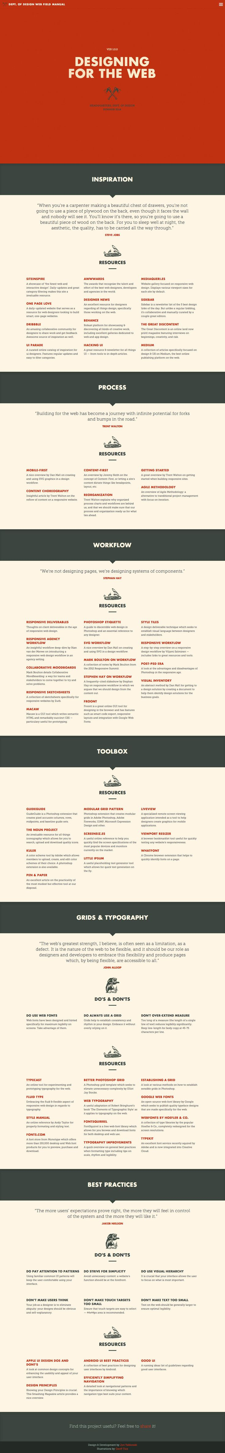 'Web Field Manual' is a long informational one pager that provides useful (and well curated) links to inspiration and resources for website development. Good clean spacious layout with a lovely blend of fonts (Futura and Museo Slab) against a subtle background texture.