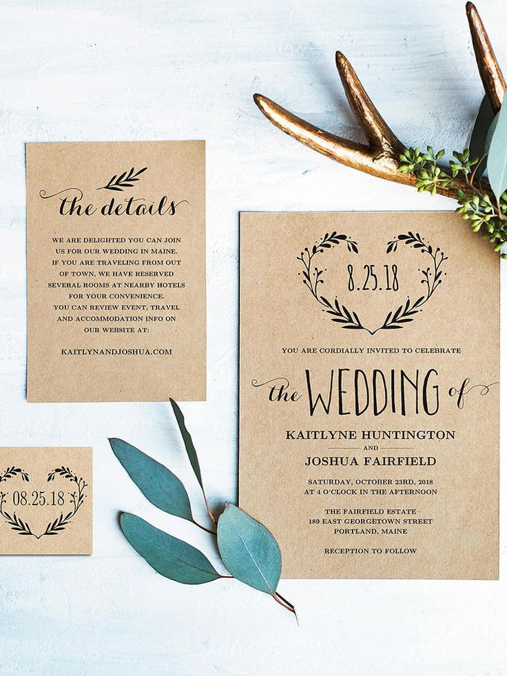 Introduce your rustic wedding with a DIY wedding template wreathed in love, featuring lush fern detail silhouettes against a cashmere background.