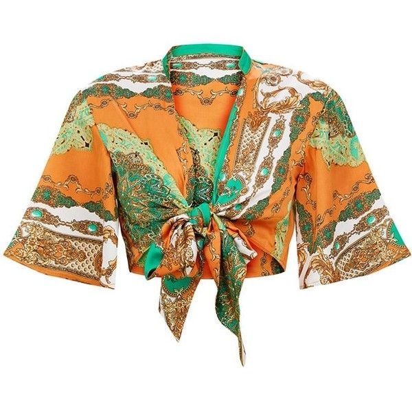 Orange Scarf Print Flare Sleeve Tie Front Crop Top (2,820 INR) ❤ liked on Polyvore featuring tops, bell sleeve tops, crop top, scarf print top, cut-out crop tops and flared sleeve crop top