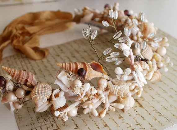 Distant Shores  a delicate shell crown by gardensofwhimsy on Etsy