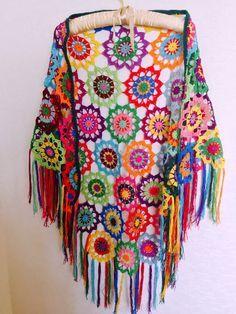 Renkli Tığ Şal, Boho Gypsy Şal, Hippi Patchwork Renkli Çingene Şal