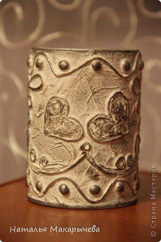 Декор предметов Аппликация из скрученных жгутиков стаканчик для  Бумага Клей Краска фото 3