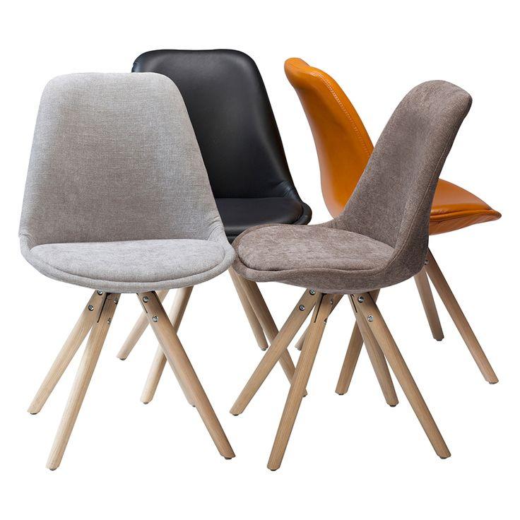 Gestoffeerde stoelen orso 2 delige set bruin massief for Design stuhl range