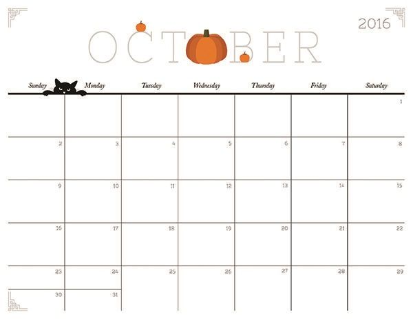 Printable October 2018 Calendar With Pumpkins Calendrier