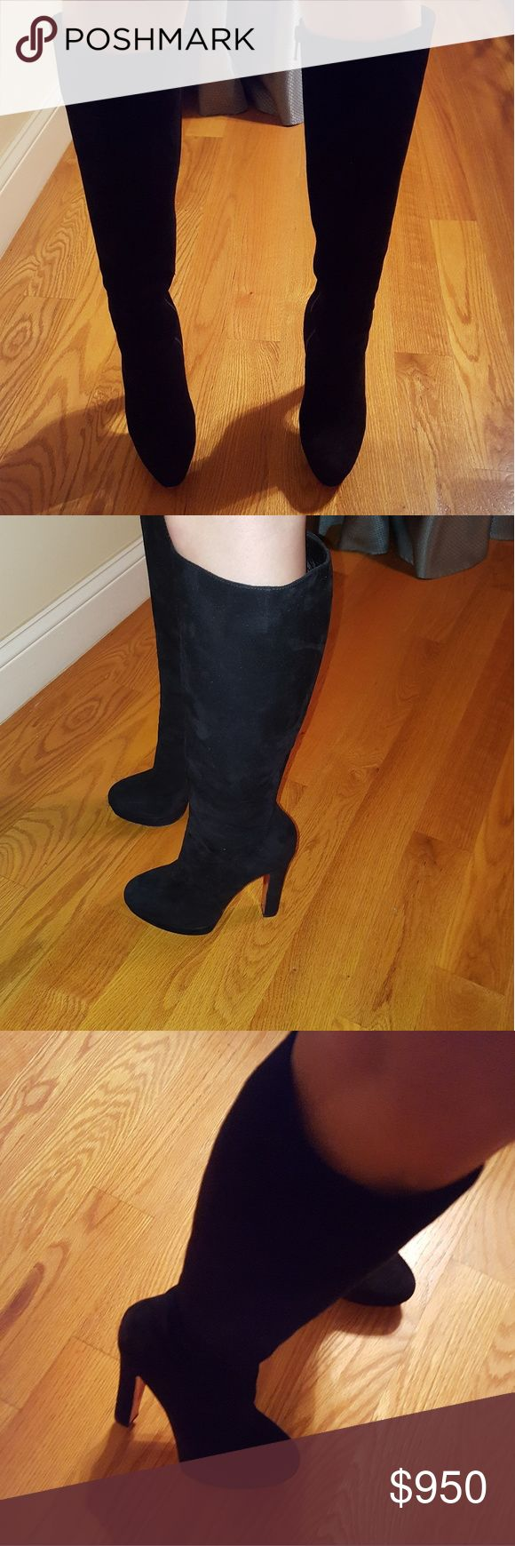 """Christian Louboutin Bibi Botta Black suede Christian Louboutin knee-high boots with round toes, tonal stitching, elastic gore at sides, covered heels and zip closure at sides. Includes box.  This designer runs a half size small.  Calf Circumference:12""""  Shaft:14""""  Heels:5""""  Platforms:1.25""""  Condition:Good. Moderate scuffs at soles; minor scuffs throughout leather. Christian Louboutin Shoes Heeled Boots"""