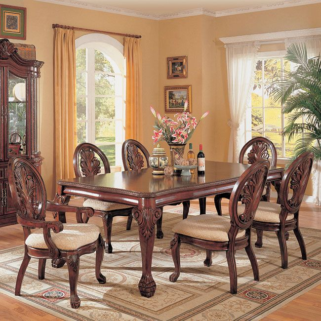 Dining Table Chairs Set With Ball Claw Design Legs Cherry Finish