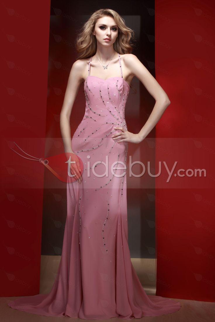 マーメイドスパゲッティストラップトレーンイブニングページェントドレス