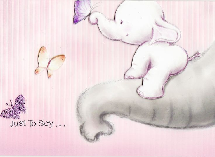 3D baby elephant and butterflies 'Just to Say...' Card (by Tassie Scrapangel)