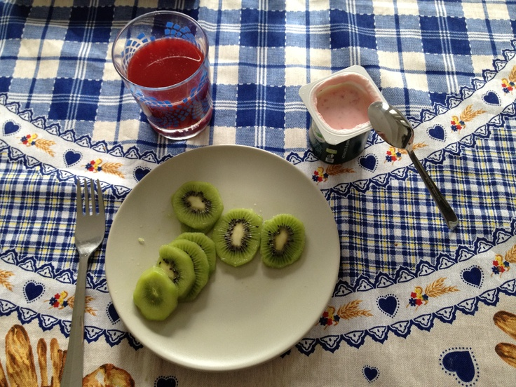 Day Two: Tuesday Breakfast. Bloody Orange Juice, Strawberry Yogurt, Kiwi.