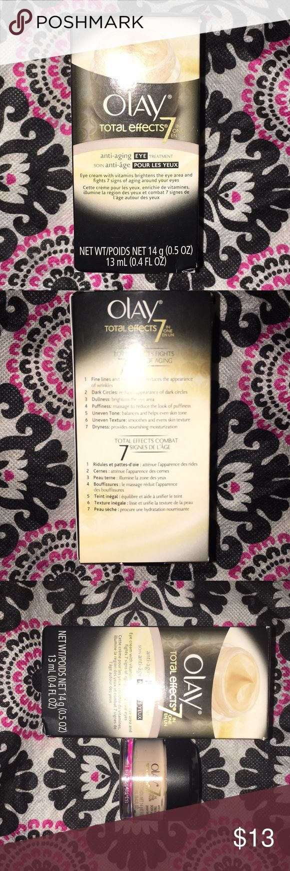 OLAY Total Effects 7 in 1 Anti-Aging Eye Cream OLAY Total Effects 7 in 1 Anti-Aging Eye Treatment Eye Transforming Cream. Brand new, still in box, never used! Retails for $24.99. Olay Total Effects Makeup