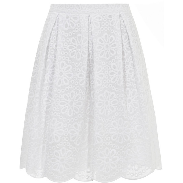 White broderie midi skirt ($49) ❤ liked on Polyvore