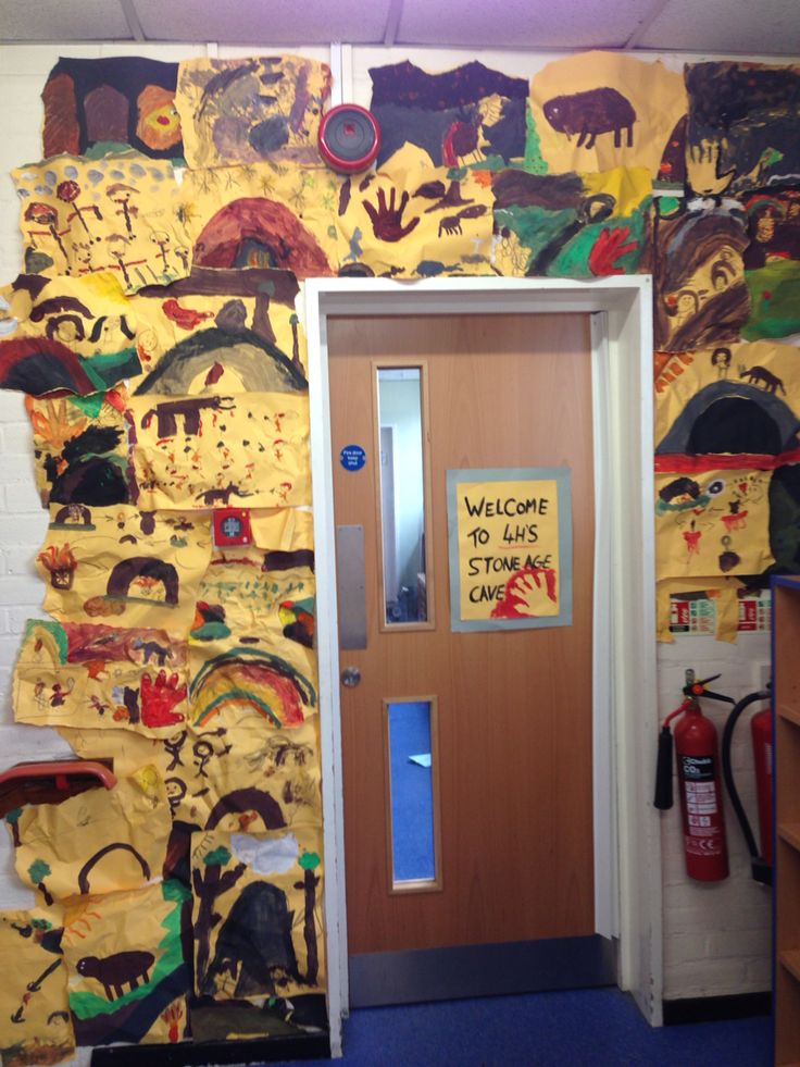 Classroom Stone age display cave paintings