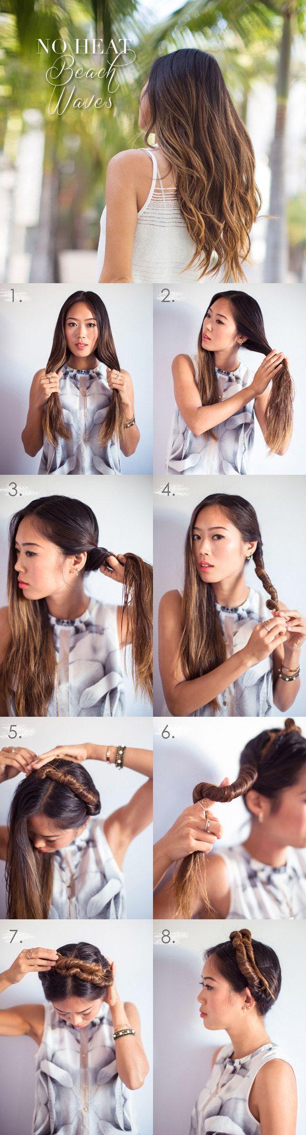 Se trata de una idea similar a las trenzas de sirena, este tutorial de rollos se ve adorable si te haces un peinado alto, y te da unas ondas de playa cuando te sueltas el cabello. | 13 peinados geniales que durarán dos días completos