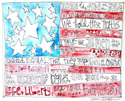 American Flag Art  artbyerinleigh Could write words that have meaning to them, then simply paint the insides of the red stripes and the blue field.
