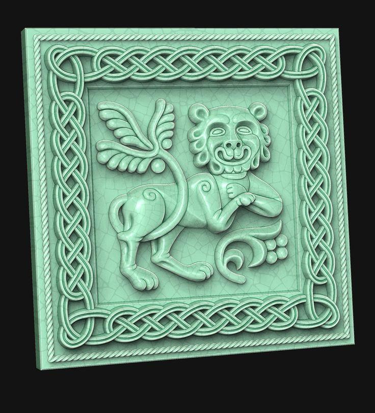 Leo I. (tile). 3D model for CNC milling machine. Simulation programs: MoI, ArtCam, ZBrush. Private order.