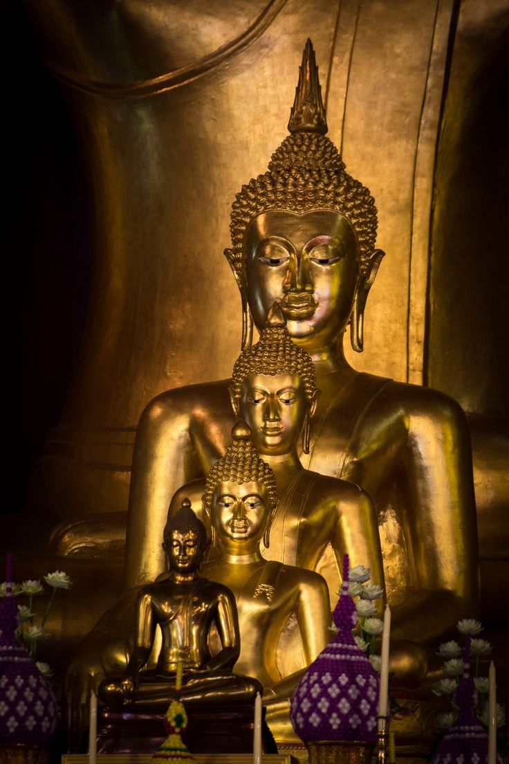 Golden Buddhas - Chiang Mai, Thailand.  Now Chiang Mai has become a big city with traffic jams.  But the superb charm of Northern Thailand can still be found there.