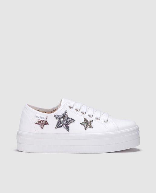 Zapatillas de lona de mujer Victorias de color blanco con estrella glitter 4a2c3e62792