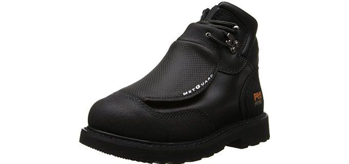 Timberland PRO Men's 40000 Met Guard 6′ Steel Toe Boot.  If you want full protection when it comes to wearing working boots this is your best choice.  It has external metatarsal protection to better foot and toe protection.  Embedded with antimicrobial fabric lining to get rid of foot odor. Designed to follow the anatomical contours of your foot, sewn with Kevlar thread for long lasting working shoes, and constructed with Everguard leather to give you comfort and mobility at the same time.