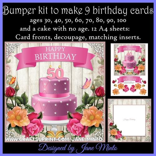 """the bumper kit has 12 A4 sheets to make 9 cards.  The card front is 7x7"""", there's decoupage, and 3 matching inserts.  Ages on the cakes are 30, 40, 50, 60, 70, 80, 90, 100, and there's one with no numbers.  The inserts say: Happy Birthday, Wishing you a very happy birthday, and there's a blank one too.    This design is also available in single sheets in my shop."""