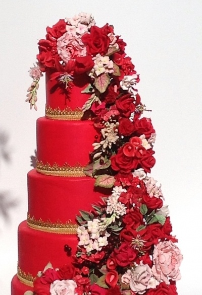 Prosperity - Red Cake with Handmade Gumpaste Red and Pink Flowers. By Faux-Ever Cakes, Las Vegas, NV: Red Fondant, Fondant Tiered, Handmade Gumpaste, Cake Ideas, Red Cake, Cake Decor, Amazing Cake, Beautiful Cake, Pink Handmade