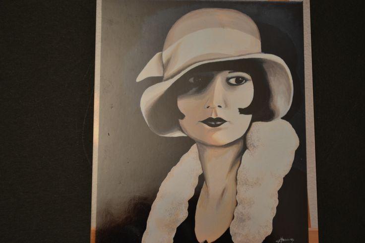 femme des années folles, années 20, Peinture Opale Isis, Christine Monsion,