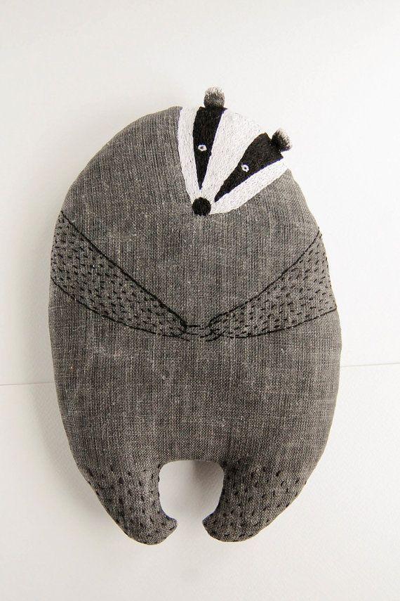 Small pillow animal shrewd badger soft stuffed toy plush - kids gift pillow toy, woodland nursery decor: