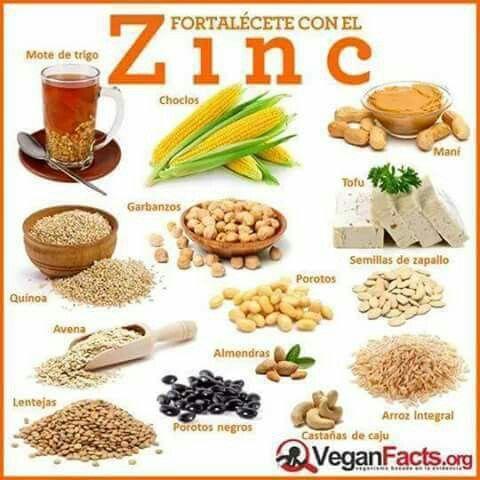 Alimentos que nos proporcionan zinc.