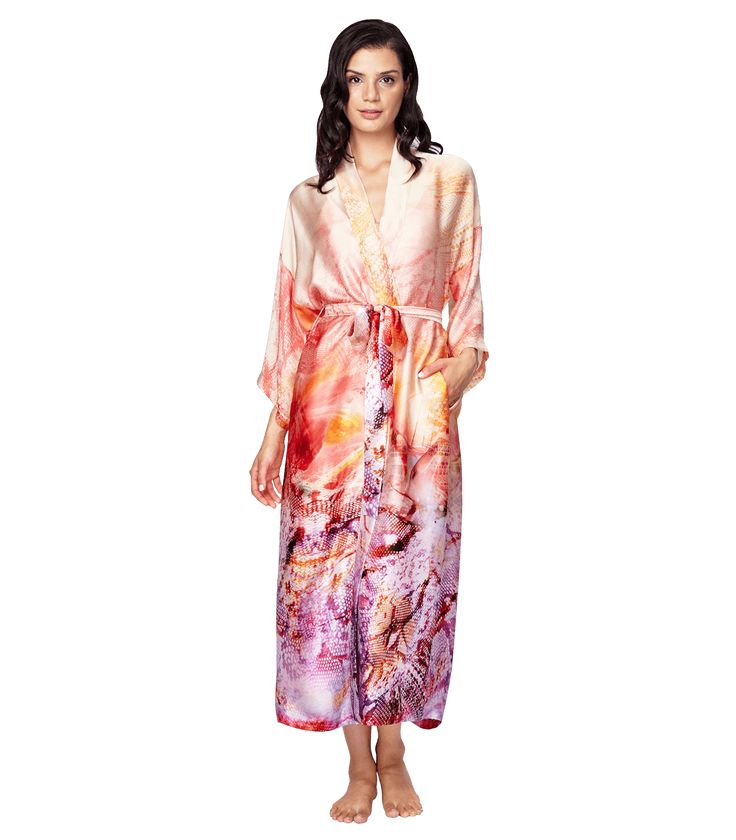 Aurora Long Robe: This vibrant Aurora butterfly print will be sure to add some interest to your boudoir. Wear the robe alone or pair it with your favorite Christine underpinning.  Ankle skimming length and side seam pockets. 100% Silk. Made in Canada.  silk robe, silk full length robe, luxury robe, luxury boudoir, luxury lingerie.