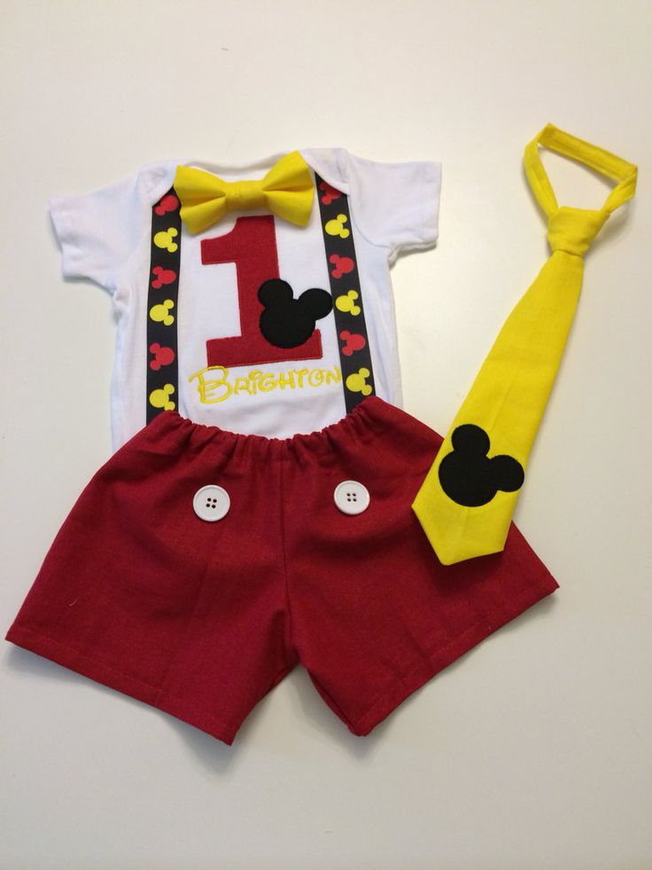 Mickey Mouse Birthday Outfit Onesie Tie by CraftyCreationsTawni, $55.00